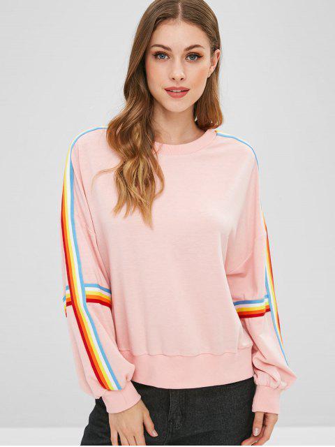 womens Colorful Striped Drop Shoulder Sweatshirt - PINK S Mobile