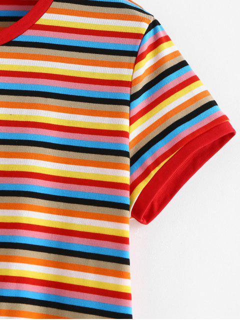 T-shirt Coloré Rayé à Manches Courtes - Multi S Mobile