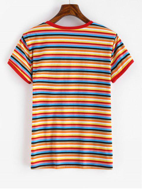 affordable Short Sleeve Colorful Stripes T Shirt - MULTI S Mobile