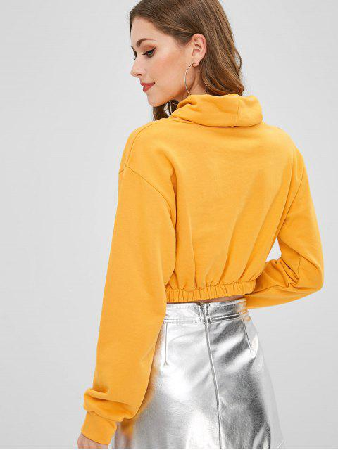 fancy Cowl Neck Graphic Cropped Sweatshirt - BRIGHT YELLOW M Mobile