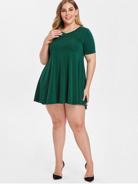 affordable Plus Size Trapeze Dress - GREEN 2X Mobile