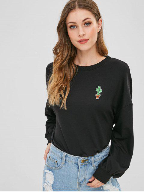 online Cactus Sequined High Low Sweatshirt - NIGHT S Mobile