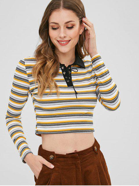 fancy Lace Up Striped Crop Tee - MULTI-A XL Mobile
