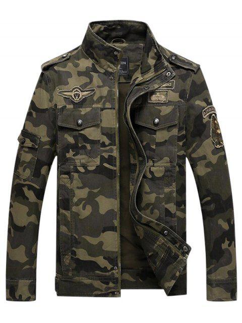 best Appliques Zipper Camouflage Jacket - MEDIUM SEA GREEN XL Mobile
