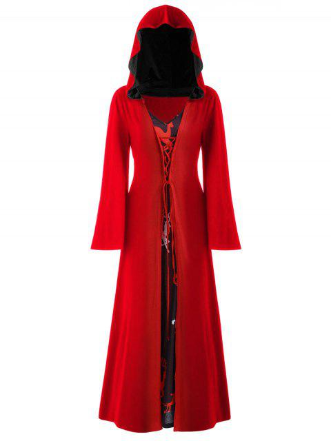 Plus Size Christmas Lace Up Hooded Maxi Dress - 熔岩紅 L Mobile