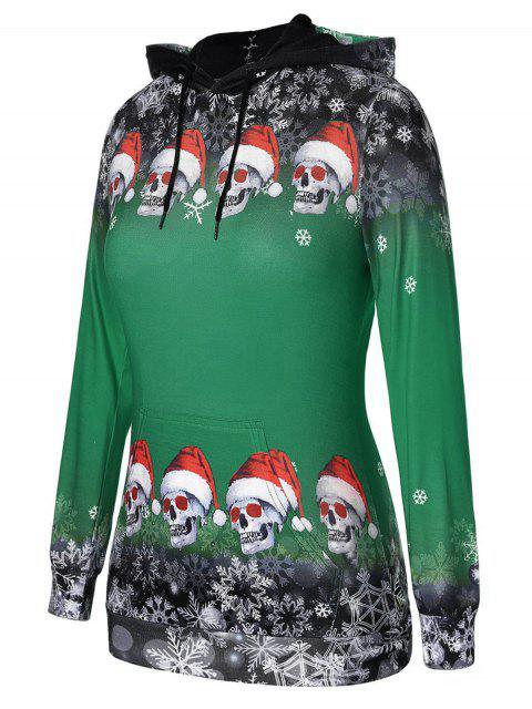 Sudadera con capucha Copo de nieve de calaveras navideñas de talla grande - Verde de Pino  L Mobile