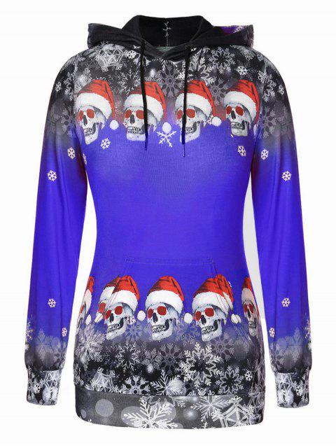 Plus Size Christmas Skulls Snowflake Pullover Hoodie - 鈷藍色 L Mobile