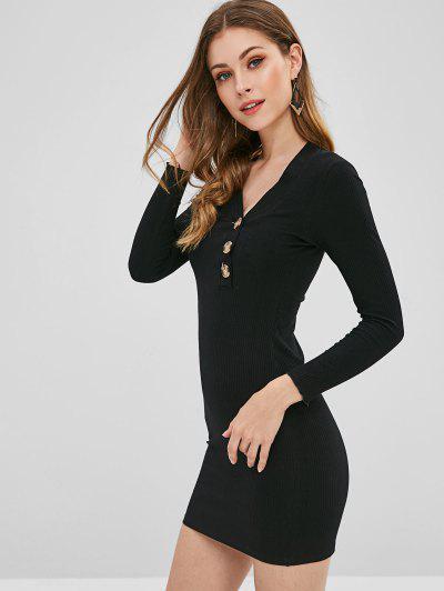 3dce221164e ... Robe Moulante Côtelée Boutonnée - Noir L
