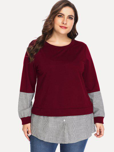 3545f225c7c ... Buttoned Stripes Panel Plus Size Sweatshirt - Red Wine 3x