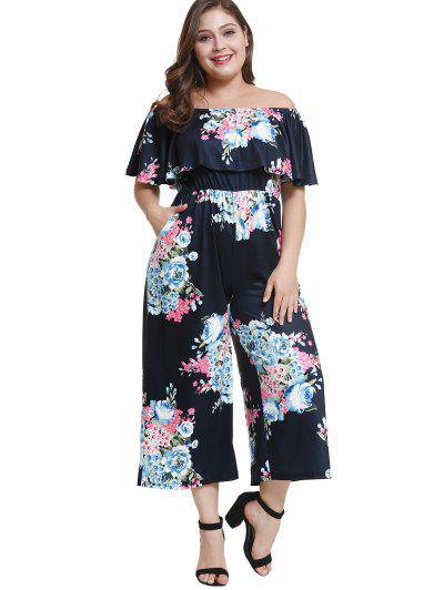 3ddcfeb6e Fora Do Ombro Plus Size Floral Jumpsuit Flounce - Azul Escuro 4x
