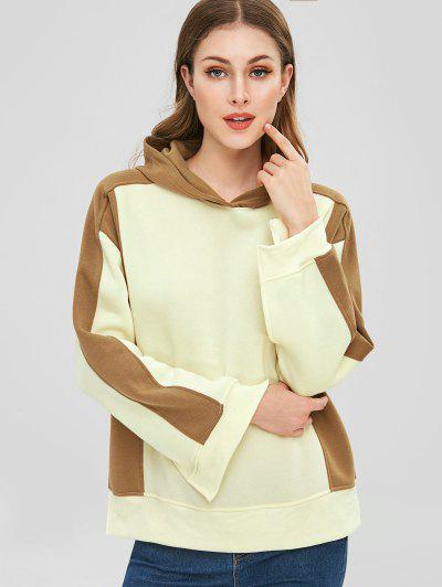 Fleece Slit Color Block Hoodie - Beige M