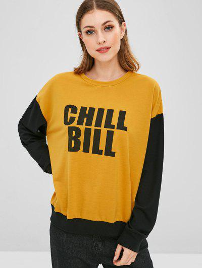 Chill Bill Graphic Color Block Sweatshirt - Yellow M