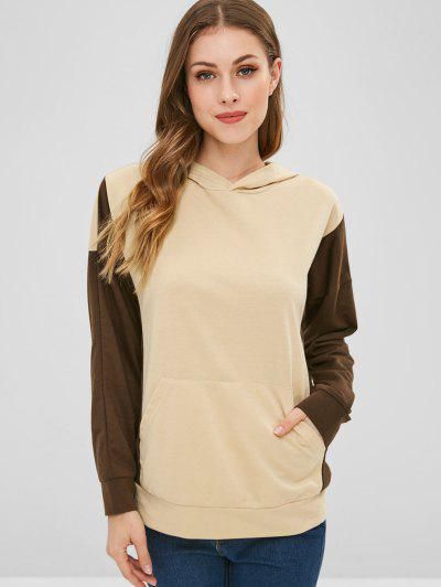 Two Tone Front Pocket Hoodie - Apricot L