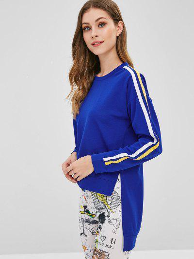 Stripe Patch High Low Sweatshirt - Blue L