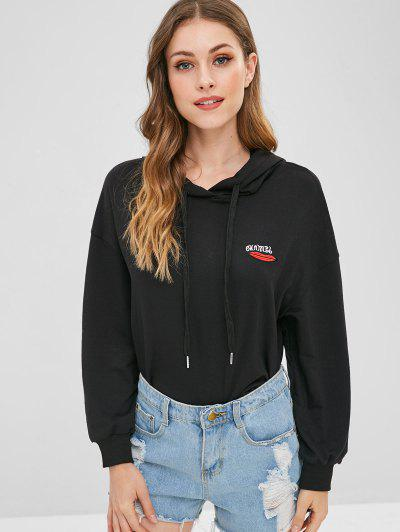 Lip Letter Embroidered Hoodie - Black Xl