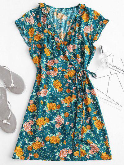 Babados Floral Envoltório Vestido - Verde S