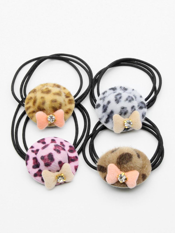 4 Pcs Leopard Bowknot Elastic Hairband Set