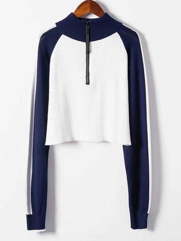Half Zip Cropped Color Block Sweater