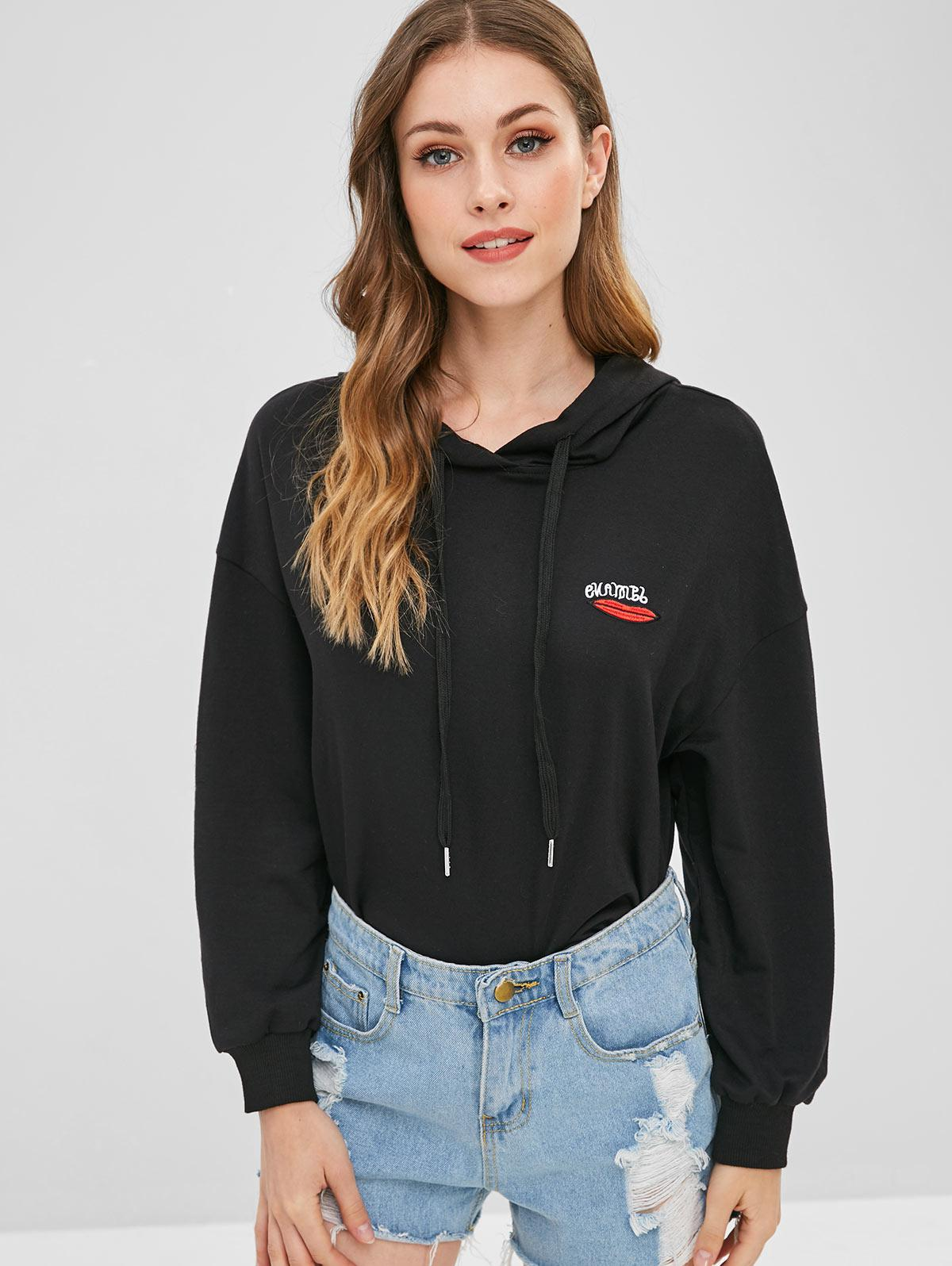 Lip Letter Embroidered Hoodie