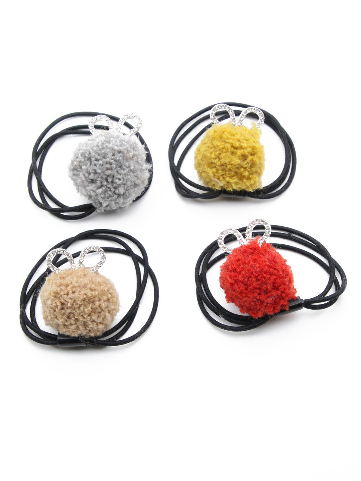 4 Pcs Rhinestone Fuzzy Ball Elastic Hairband