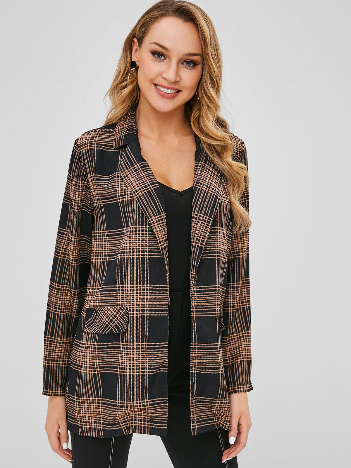 Open Front Checked Blazer фото