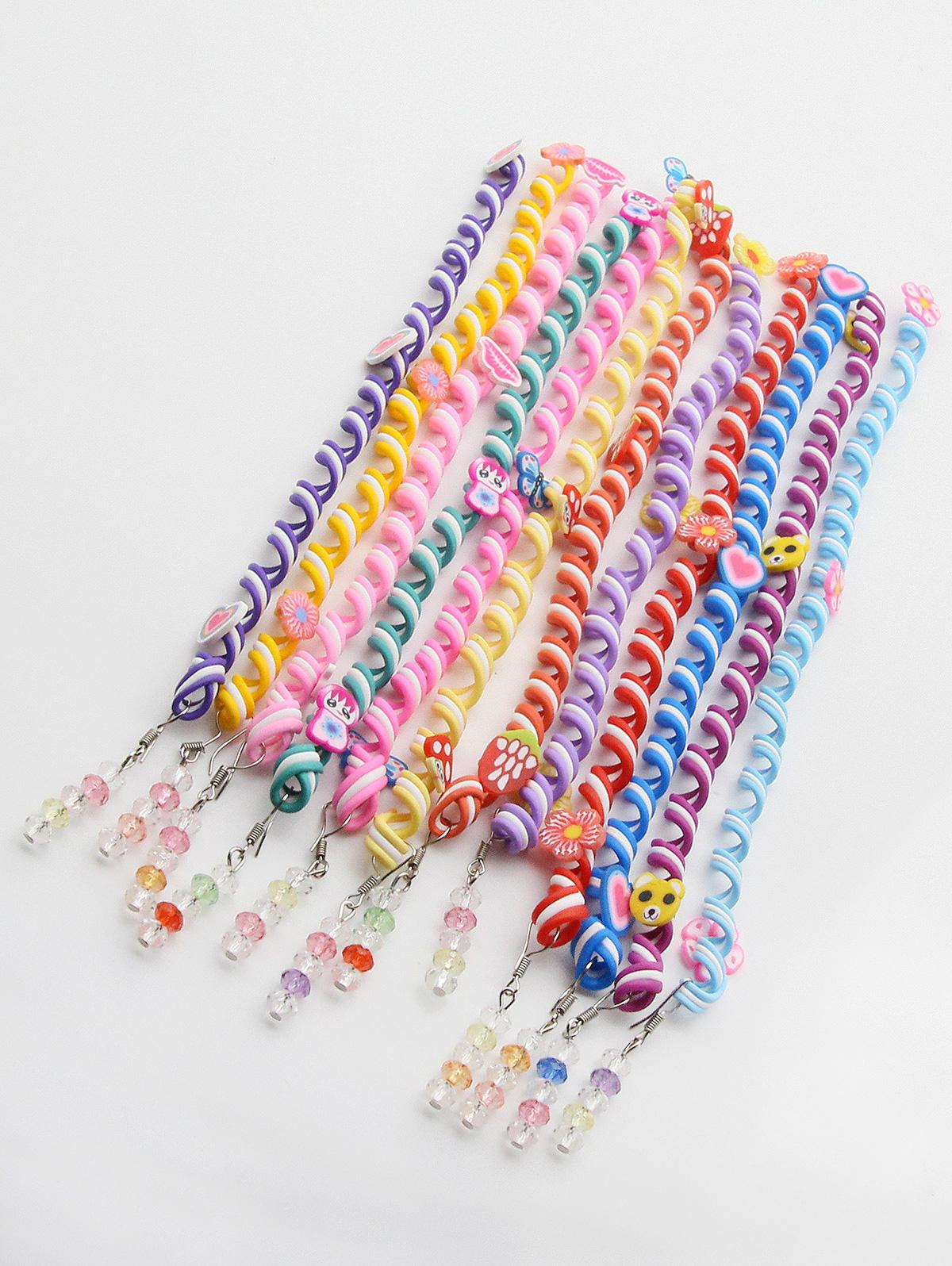 12 Pcs Cute Rainbow Color Spiral Curls Twist Hair Braider Set