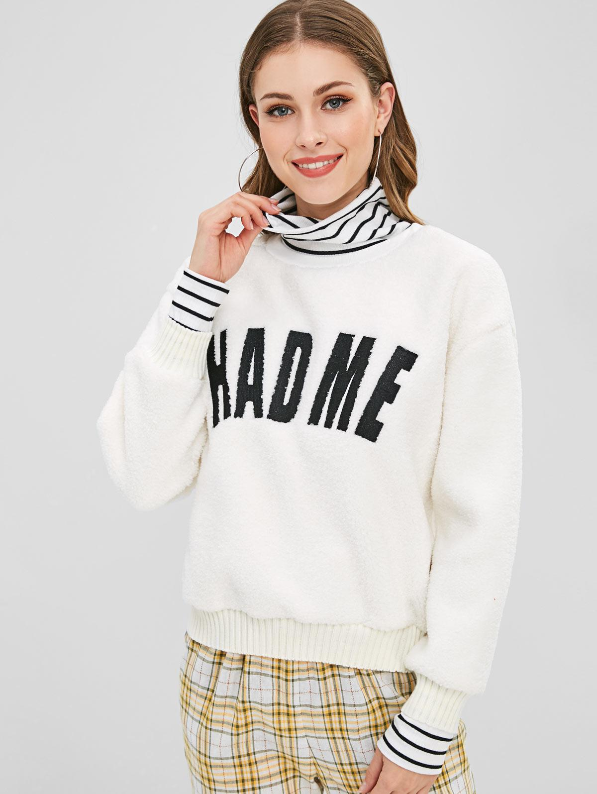 Striped Graphic Embroidered Fluffy Teddy Sweatshirt