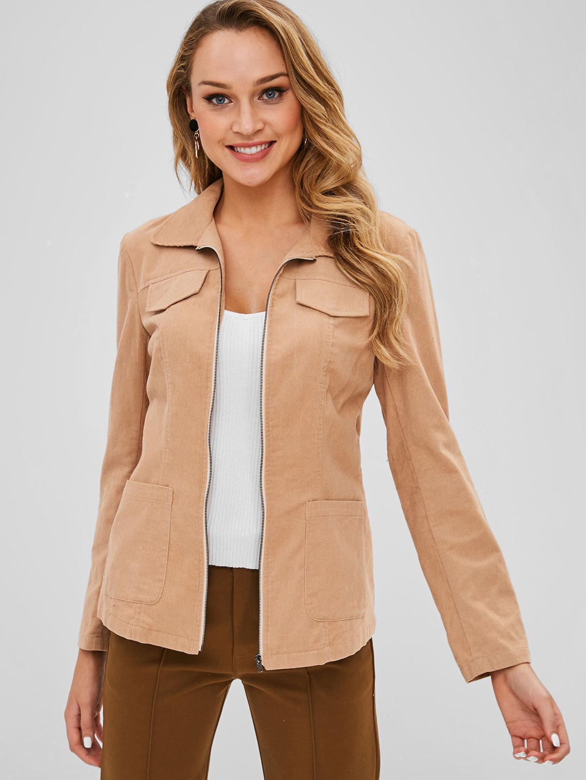 ZAFUL Corduroy Zip Pocket Jacket with Belt, Camel brown