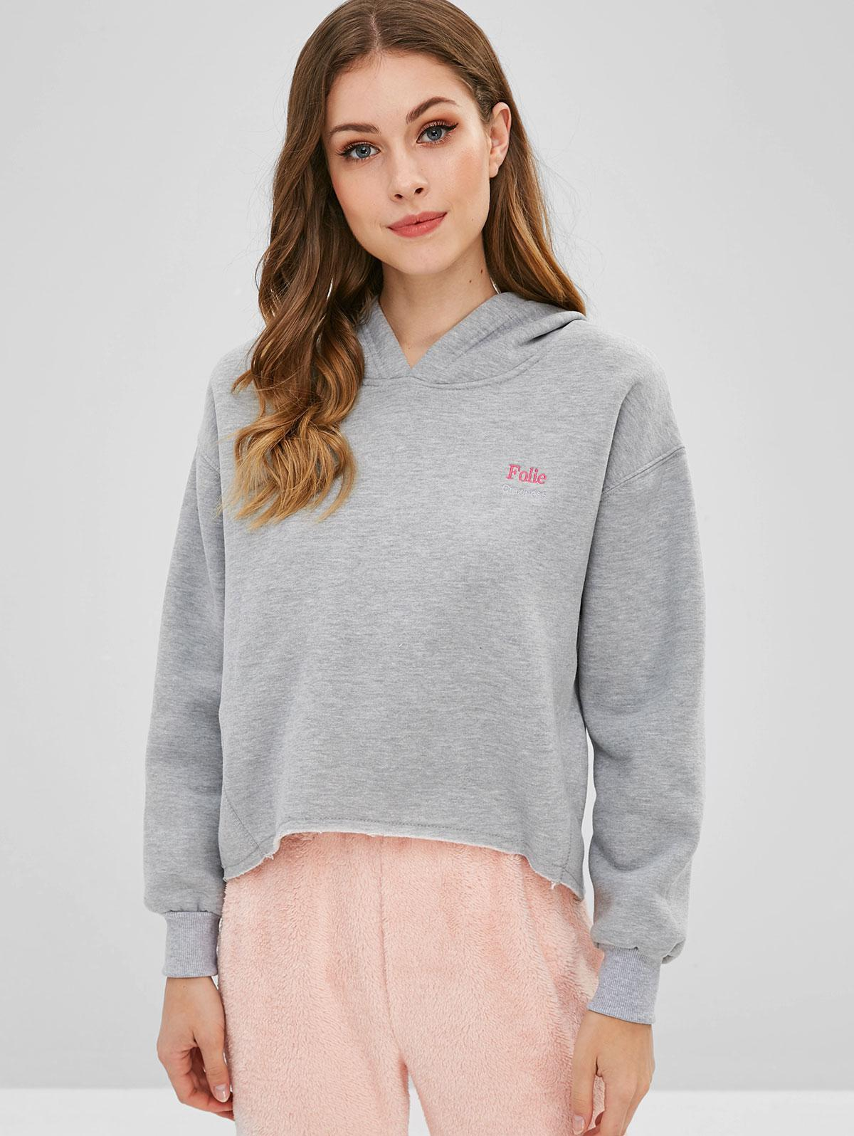 Drop Shoulder Letter Embroidered Fleece Hoodie фото