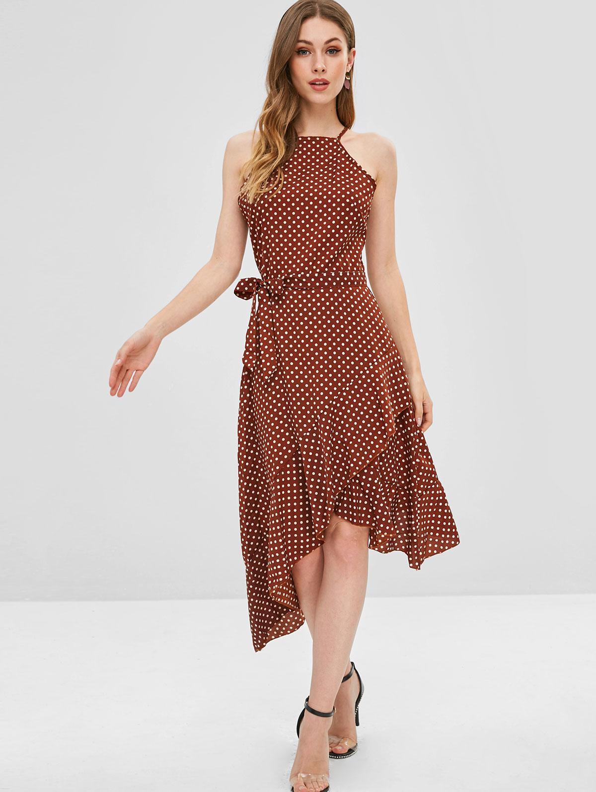 Polka Dot Belted Asymmetrical Ruffle Dress, Sepia