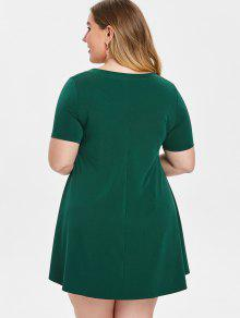 40% OFF] 2019 Plus Size Trapeze Dress In GREEN | ZAFUL