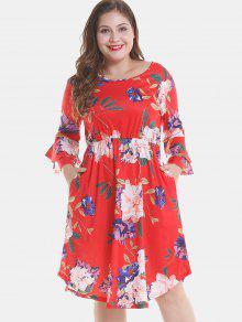 الأزهار بالاضافة الى حجم الطبقة مضيئة كم فستان - أحمر 1x