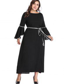 فستان مكسي باكمام طويلة مزموم - أسود 4x