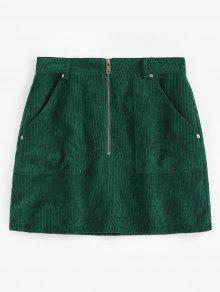 ZAFUL نصف الرمز البريدي جيوب تنورة سروال قصير - متوسطة غابة خضراء L