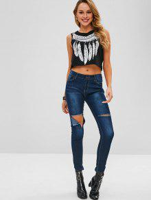 9770f9a7f71 44% OFF] 2019 Feather Graphic Cropped Tank Top In BLACK   ZAFUL