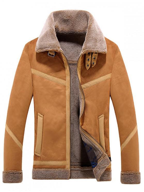 women Frontal Pockets Panel Plush Jacket Coat - DARK KHAKI XS