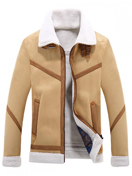 hot Frontal Pockets Panel Plush Jacket Coat - LIGHT KHAKI XS