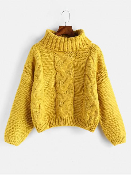 new Drop Shoulder Cable Knit Turtleneck Chunky Sweater - RUBBER DUCKY YELLOW ONE SIZE