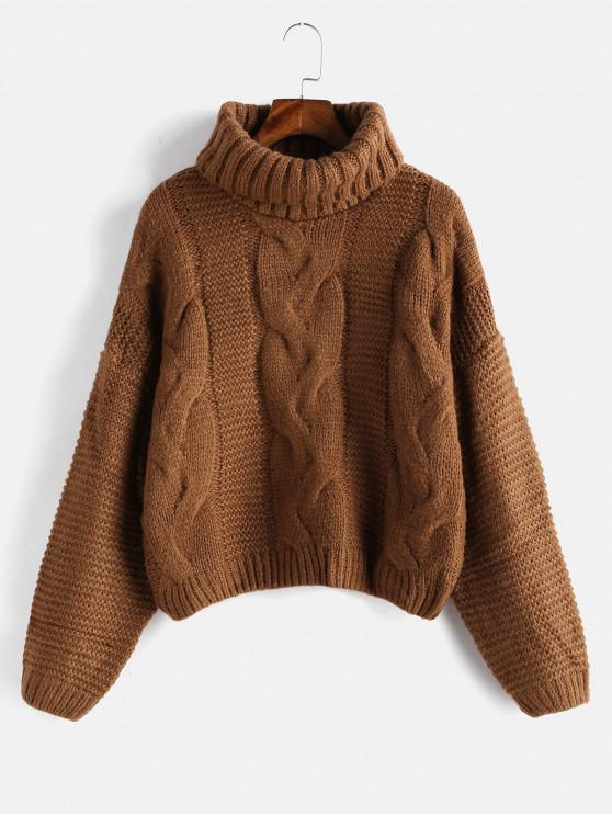 52% OFF  2019 Drop Shoulder Cable Knit Turtleneck Chunky Sweater In ... 976dde112