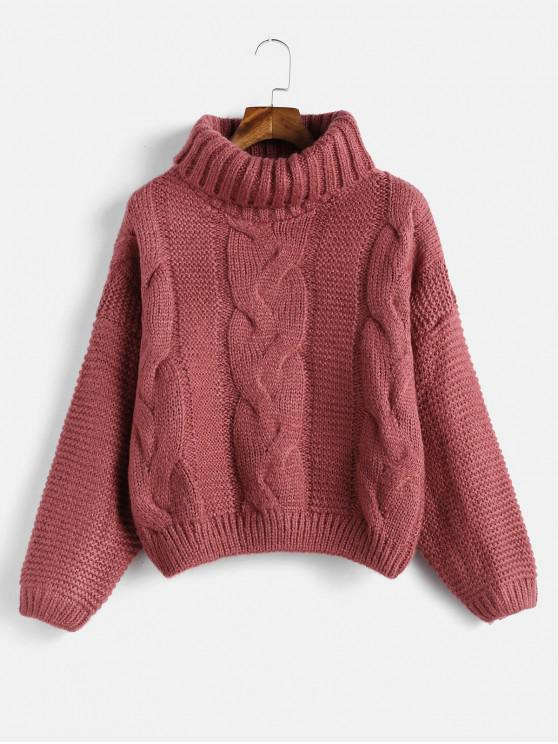 best Drop Shoulder Cable Knit Turtleneck Chunky Sweater - CHERRY RED ONE SIZE