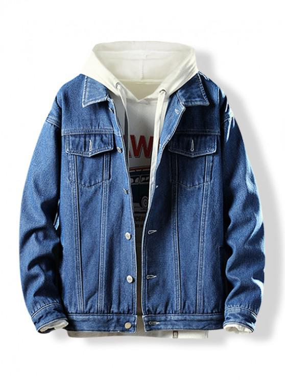 fancy Turn-down Collar Button Fly Fleece Denim Jacket - DENIM DARK BLUE XS