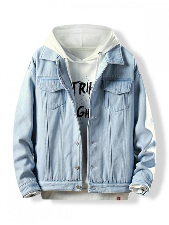Turn Down Collar Button Fly Fleece Denim Jacket Denim Dark Blue Light Blue