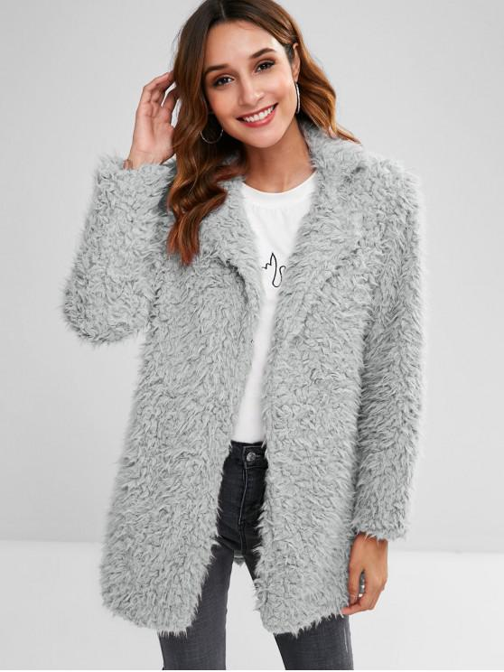 outfits Straight Fluffy Tunic Coat - GRAY M