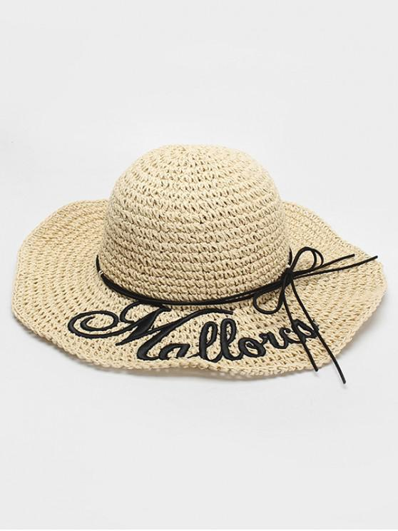 affordable Letter Print Bowknot Straw Hat - BEIGE