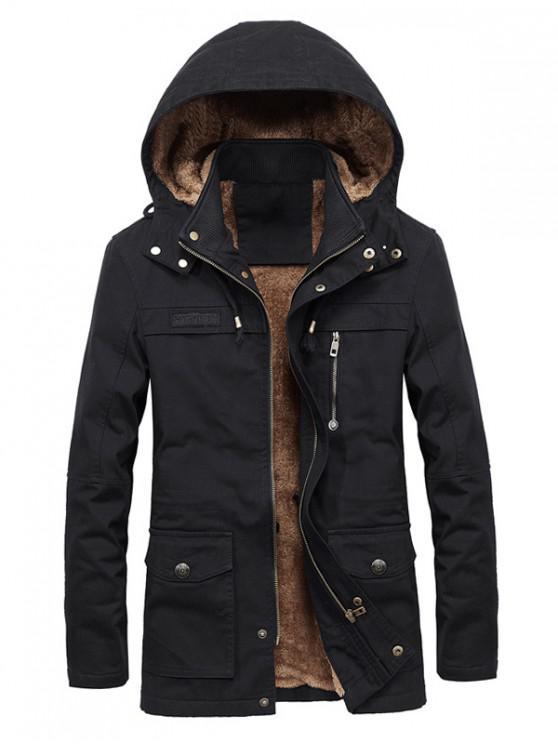 sale Faux Fur Lined Solid Pocket Jacket - BLACK L