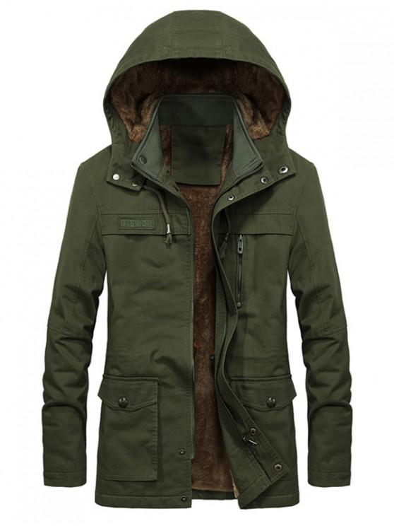 buy Faux Fur Lined Solid Pocket Jacket - ARMY GREEN XS