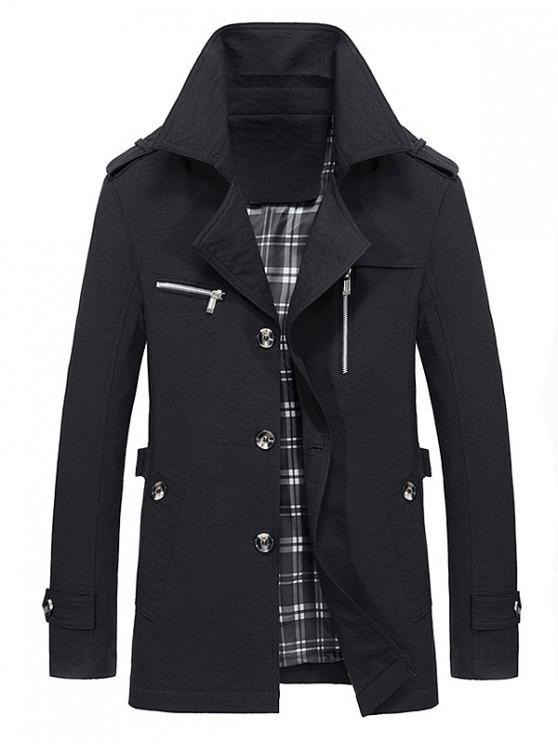 ladies Lapel Zipper Decor Button Jacket - BLACK M