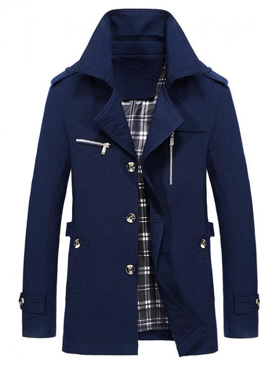 lady Lapel Zipper Decor Button Jacket - DEEP BLUE S