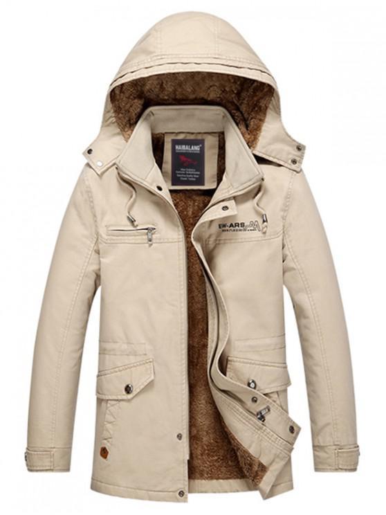 Pele do falso macio forrado engrossar jaqueta - Cáqui Claro L