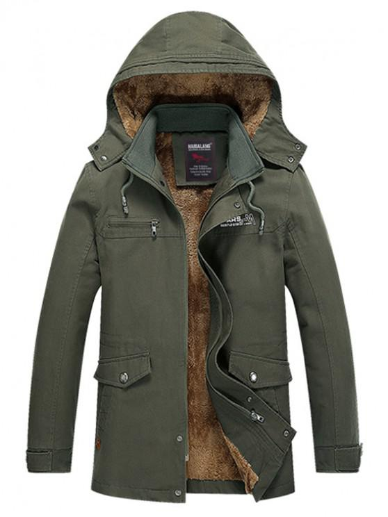 best Soft Faux Fur Lined Thicken Jacket - ARMY GREEN L